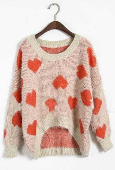 Red Long Sleeve Heart Embroidery Pullovers Sweater