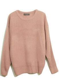 Pink Long Sleeve Vertical Stripe Pullovers Sweater