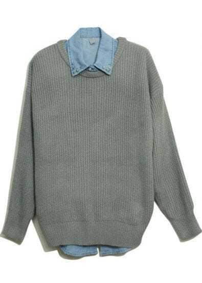 Grey Long Sleeve Vertical Stripe Pullovers Sweater