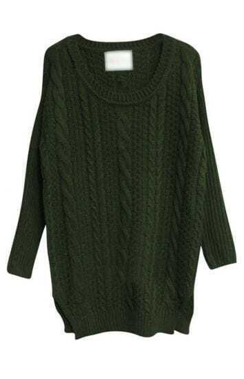 Green Long Sleeve Split Pullovers Sweater