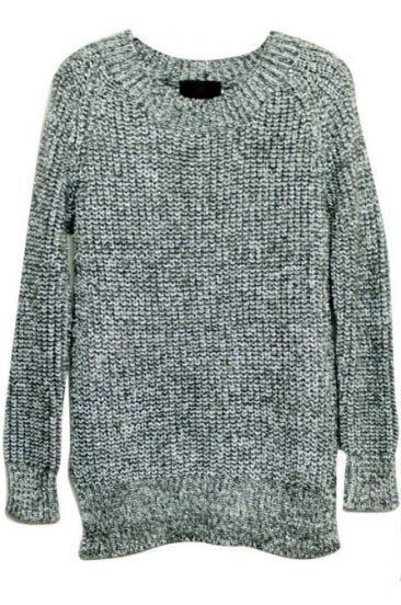 Silver Long Sleeve Split Pullovers Sweater