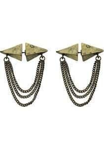 Copper Triangular Pyramid Chain Stud Earrings