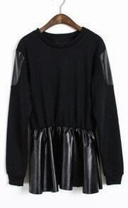 Black Long Sleeve Contrast Leather Ruffles T-Shirt