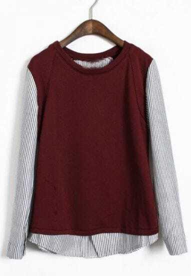 Wine Red Vertical Stripe Long Sleeve T-Shirt