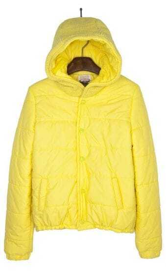 Yellow Hooded Padded Jacket Contrast Knitted Back