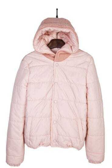 Pink Hooded Padded Jacket Contrast Knitted Back