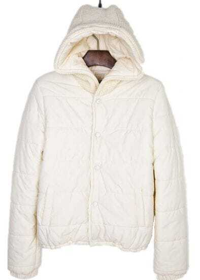 Beige Hooded Padded Jacket Contrast Knitted Back