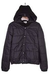 Black Hooded Padded Jacket Contrast Knitted Back