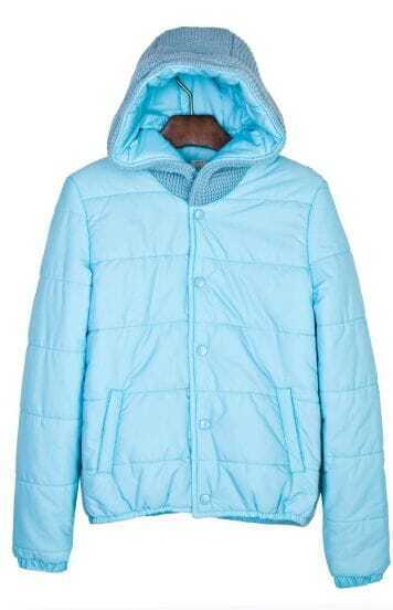 Blue Hooded Padded Jacket Contrast Knitted Back