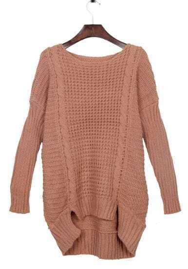 Peach Split Side Dipped Hem Cable Sweater