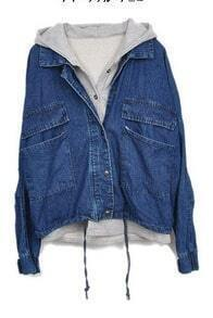 Dark Blue Hooded Batwing Pockets Denim Two Pieces Jacket