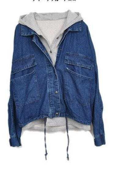 Dark Blue Hooded Batwing Pockets Denim Two Pieces Jacket