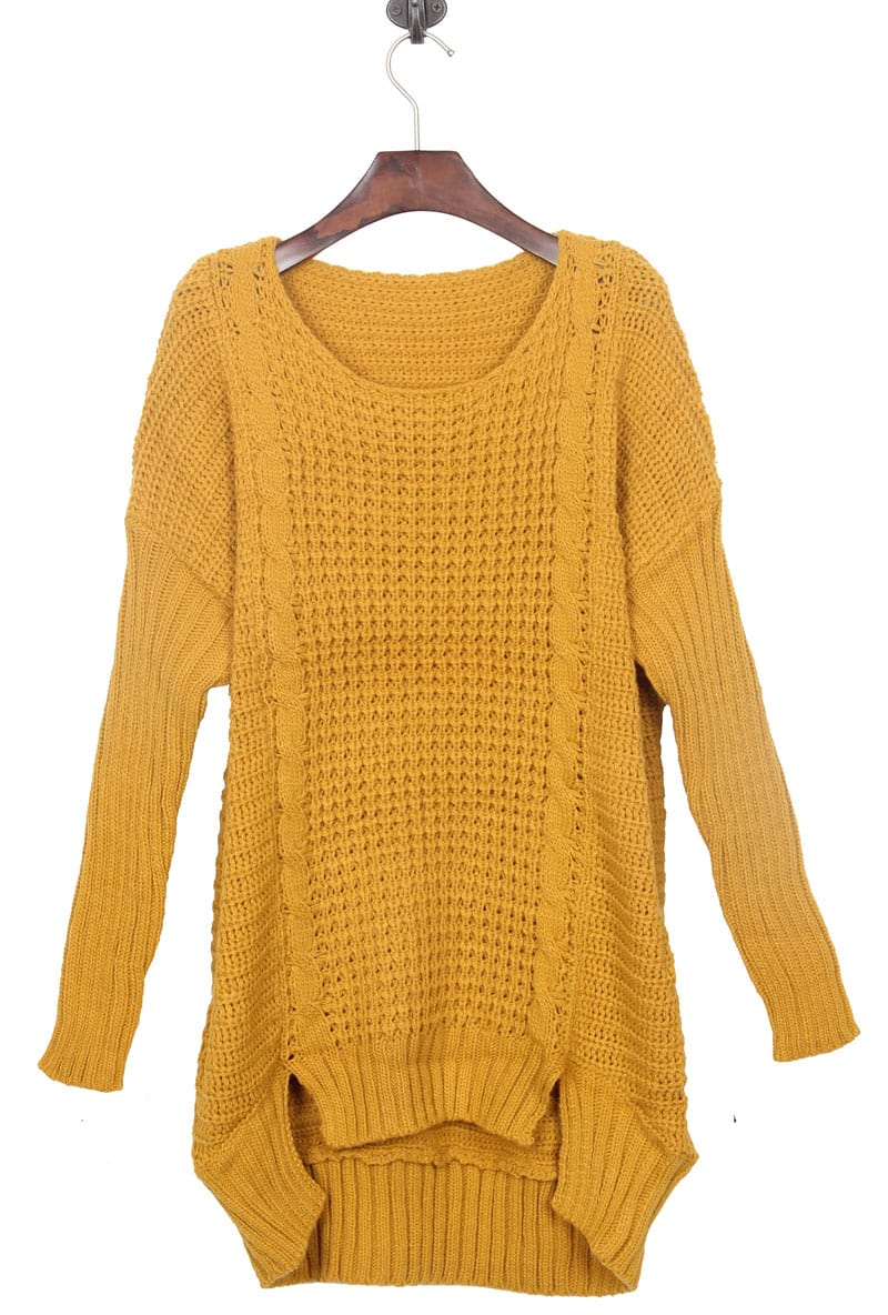Mustard Yellow Split Side Dipped Hem Cable Sweater -SheIn(Sheinside)