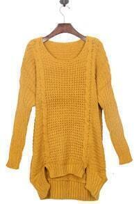 Mustard Yellow Split Side Dipped Hem Cable Sweater
