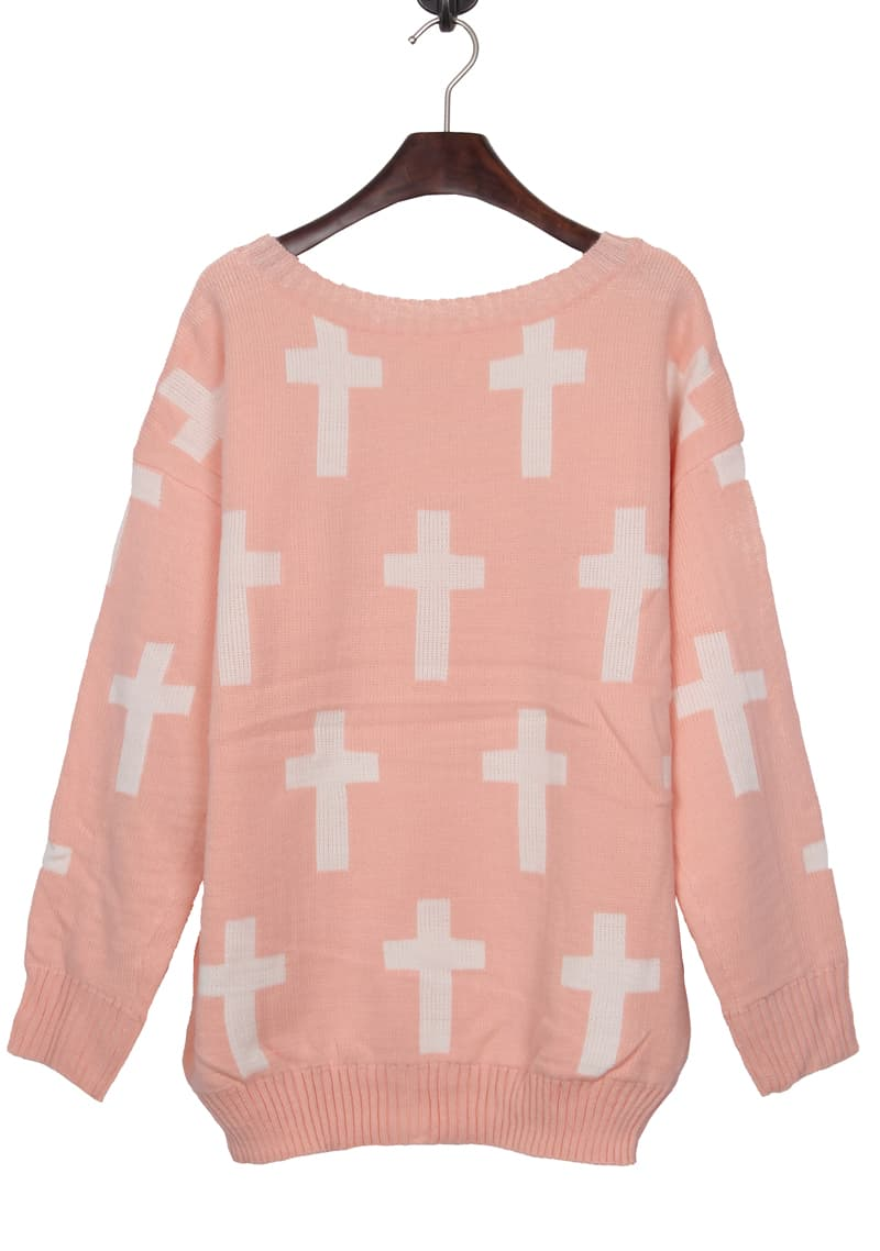 Pink Round Neck and White Cross Pattern Jumper Sweater -SheIn ...