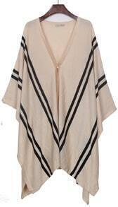 Apricot V-neck Striped Irregular Hem Knitted Cape