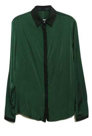 Green Lapel Long Sleeve Single Breasted Loose Chiffon Shirt