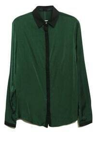 Green Lapel Long Sleeve Single Breasted Loose Chiffon Shirt