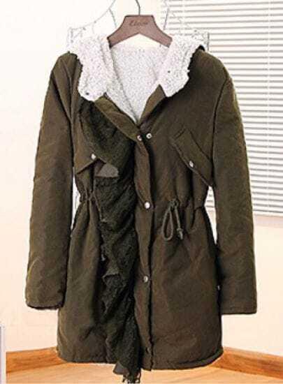 Green Hooded Long Sleeve Lace Drawstring Coat