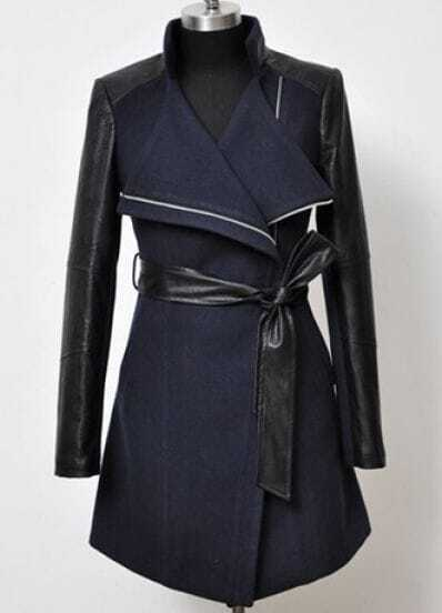 Navy Contrast Leather Long Sleeve Zipper Trench Coat