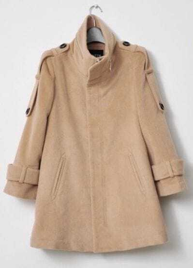 Camel High Neck Long Sleeve Epaulet Split Coat