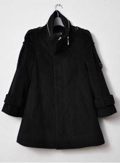 Black High Neck Long Sleeve Epaulet Split Coat