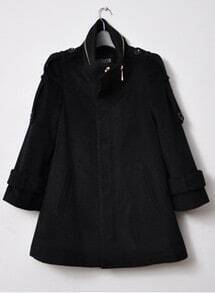 Black High Neck Long Sleeve Epaulet Split Coat