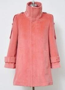 Pink High Neck Long Sleeve Epaulet Split Coat