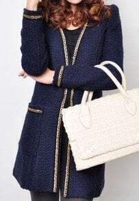 Blue Long Sleeve Covered Button Chain Coat