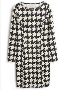 Black White Long Sleeve Houndstooth Dress