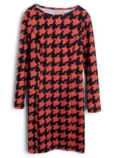 Black Red Long Sleeve Houndstooth Dress