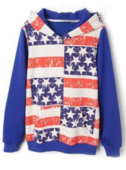Blue Hooded Long Sleeve Striped Stars Print Sweatshirt