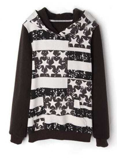 Dark Coffee Hooded Long Sleeve Striped Stars Print Sweatshirt