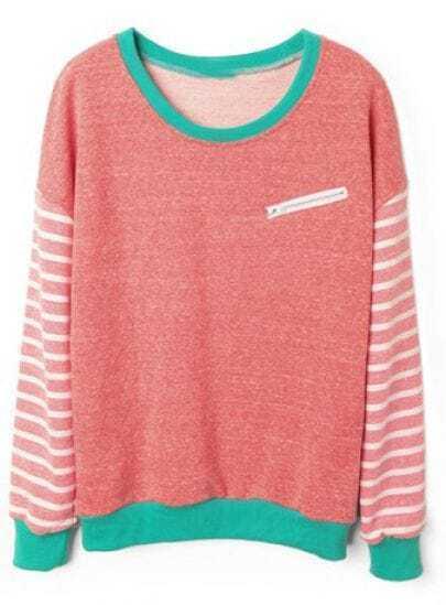 Red Striped Long Sleeve Contrast Trims Sweatshirt