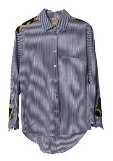 Blue White Vertical Stripe Contrast Camouflage Blouse