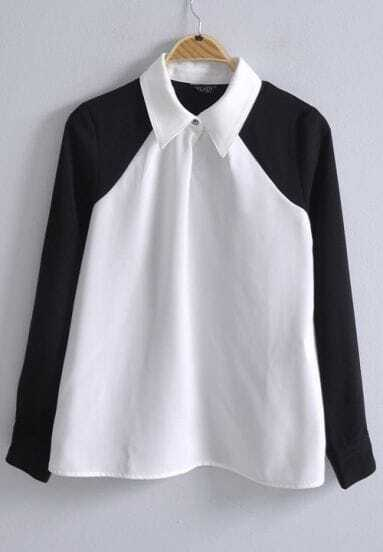 Black White Lapel Long Sleeve Buttons Chiffon Blouse