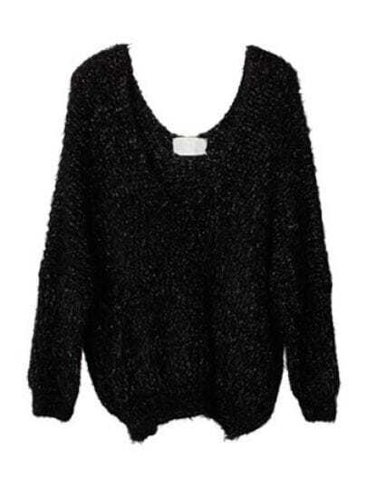 Black V Neck Long Sleeve Sequined Pullovers Sweater