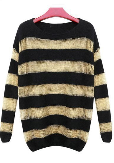 Black Yellow Striped Long Sleeve Loose Sweater