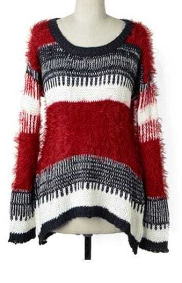 Red White Striped Long Sleeve Loose Sweater