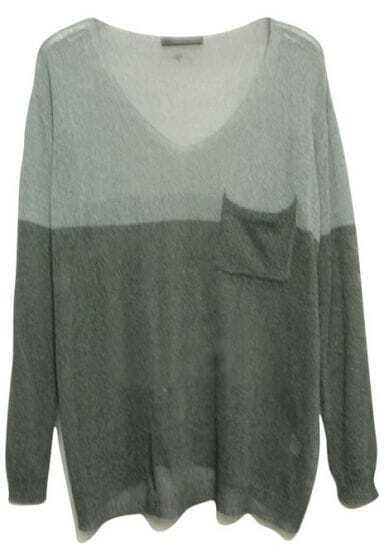 Grey Long Sleeve Big Pocket Batwing Sweater