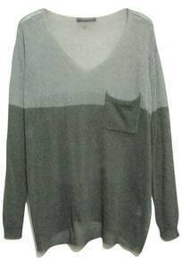 Grey Long Sleeve Big Pocket Batwing Sweater