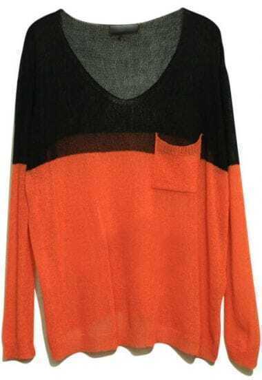 Black Orange Long Sleeve Big Pocket Batwing Sweater