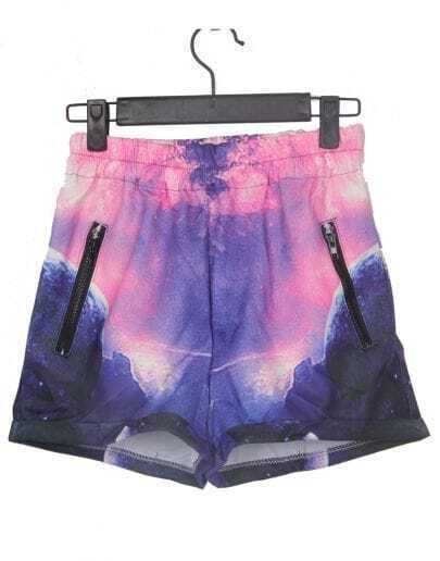 Purple and Pink Zipper Embellished Trun Back Galaxy Shorts