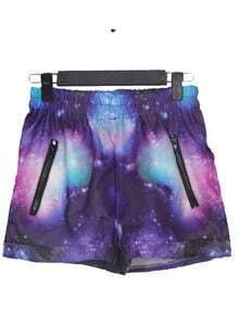 Purple and Blue Zipper Embellished Trun Back Galaxy Shorts