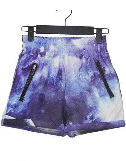 Purple and White Zipper Embellished Trun Back Galaxy Shorts