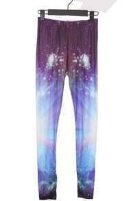 Purple and Blue Galaxy Dip Dye Legging