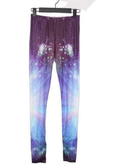 Purple and Blue Galaxy Dip Dye Legging
