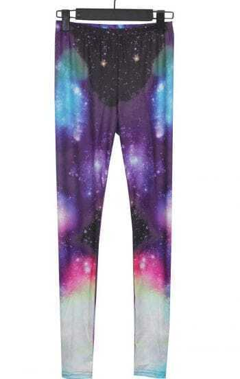 Purple and White Blue Galaxy Dip Dye Legging