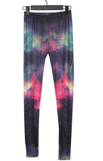 Black and Red Cloud Galaxy Dip Dye Legging