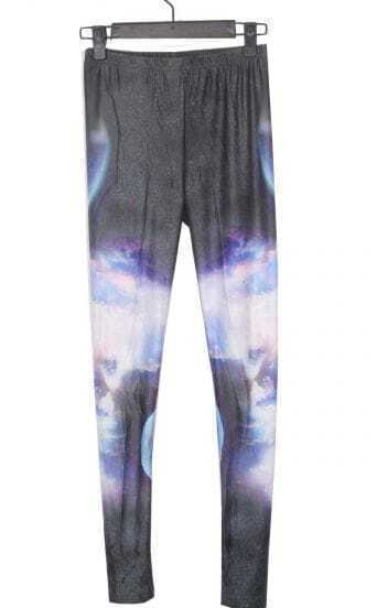 Black and White Earth Galaxy Dip Dye Legging
